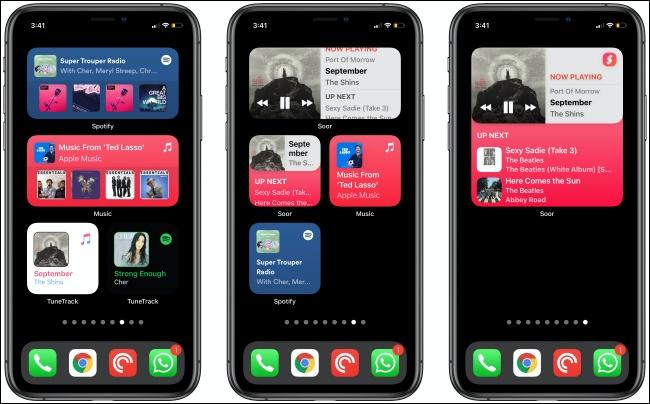 Widgets musicaux sur trois iPhones.