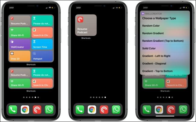Widgets de raccourcis sur trois iPhones.