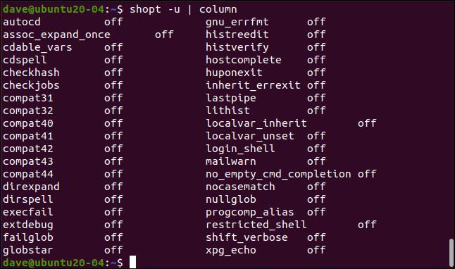 shopt -u |  colonne dans une fenêtre de terminal.