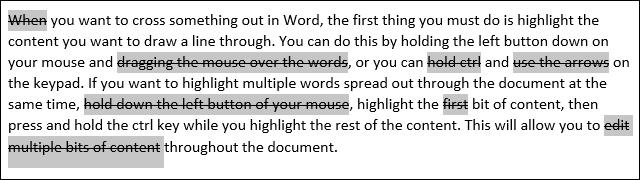Mots barrés dans Microsoft Word
