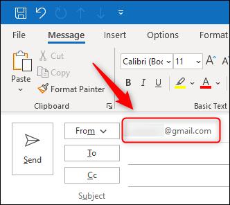 """Le champ """"De"""" affichant une adresse e-mail différente."""