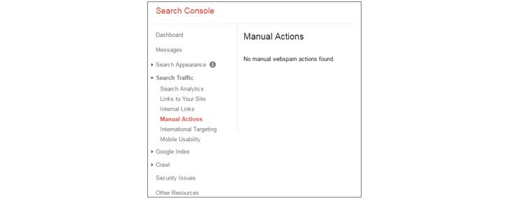 Actions manuelles de la Search Console