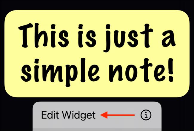 Appuyez sur Modifier le widget