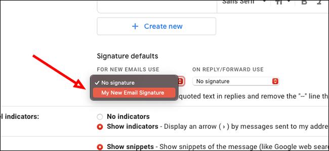 Choisissez votre signature par défaut