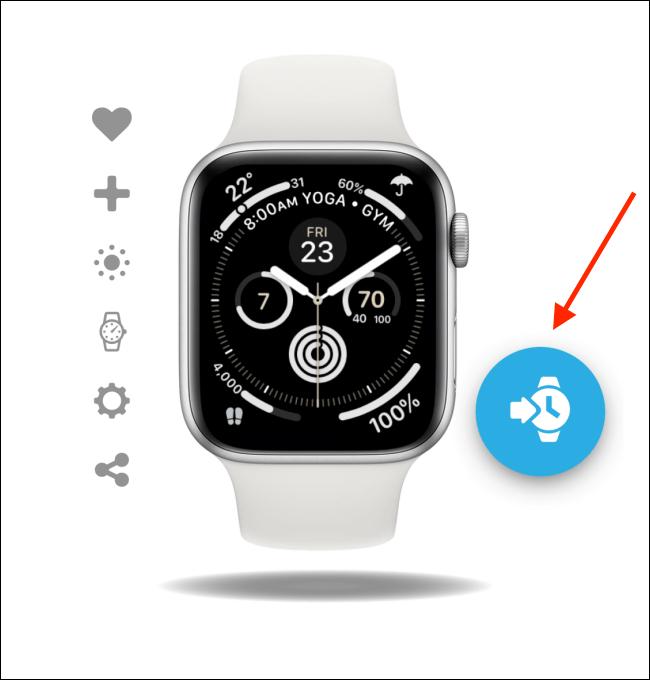 Appuyez sur le bouton Ajouter sur le cadran de la montre dans l'application Facer