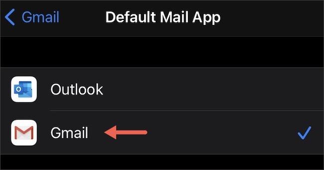 Appuyez sur «Gmail».