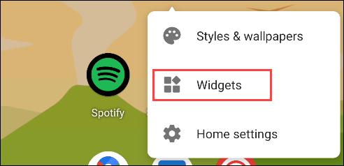 """Appuyez sur """"Widgets""""."""