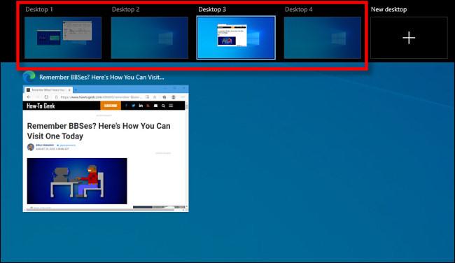 Der Windows 10-Taskansichtsbildschirm, auf dem virtuelle Desktops angezeigt werden