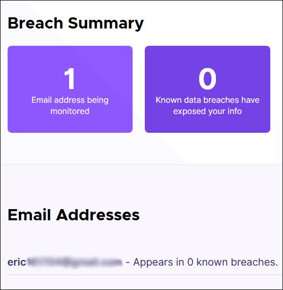 Page de résumé des violations pour Firefox Monitor