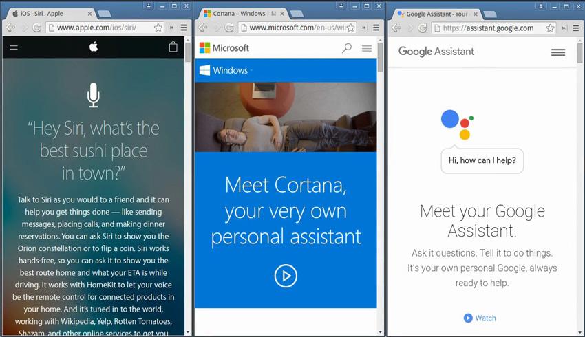 Applications à commande vocale Siri Cortana et Google Now