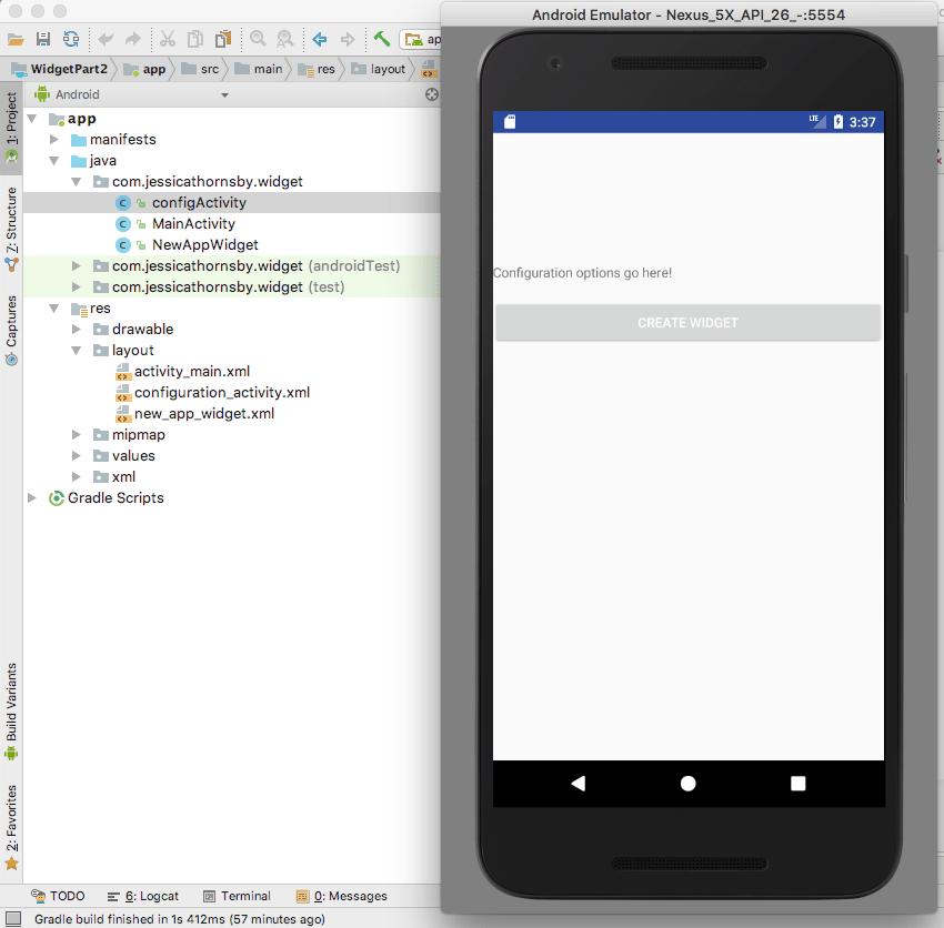 Tester l'activité de configuration du widget d'application