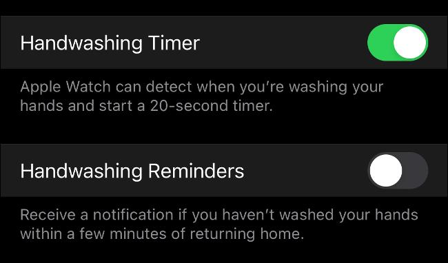 Lavage des mains complet dans watchOS 7