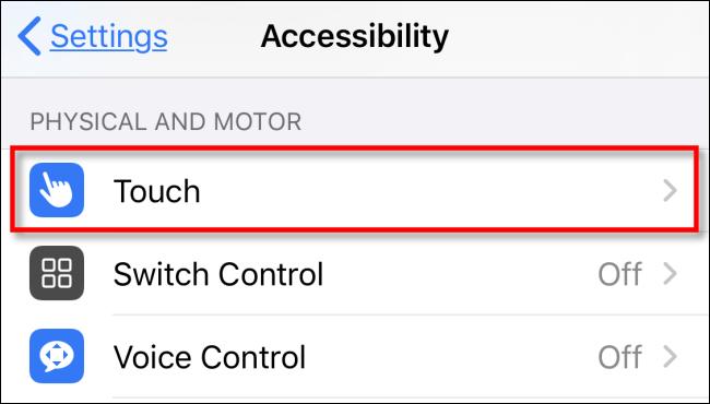 """Appuyez sur """"Touch"""" dans le menu """"Accessibilité""""."""