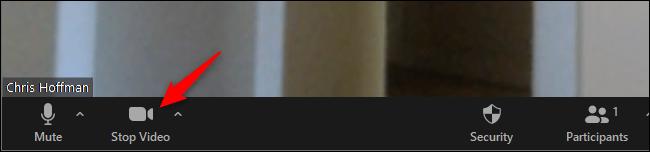 """Cliquez sur """"Arrêter la vidéo"""" sur la barre d'outils de Zoom"""