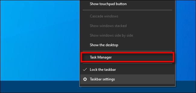 """Cliquez avec le bouton droit sur la barre des tâches et sélectionnez """"Gestionnaire des tâches""""."""