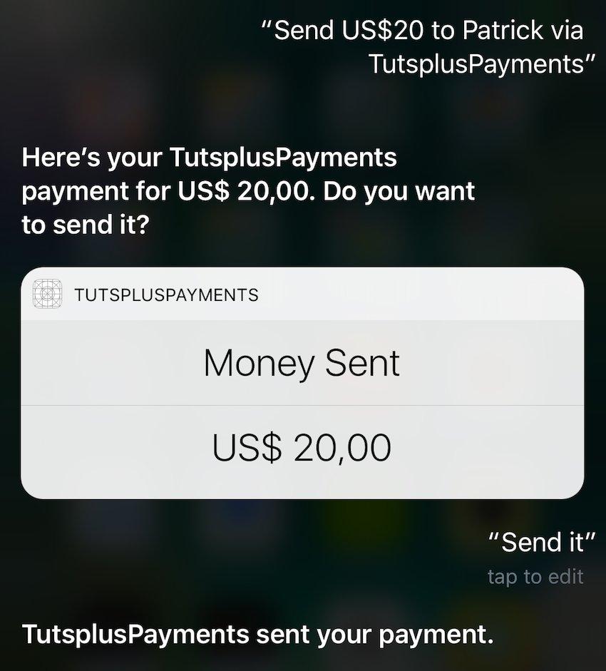 Premier paiement réussi via Siri