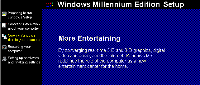Le processus d'installation de Windows Millennium Edition.