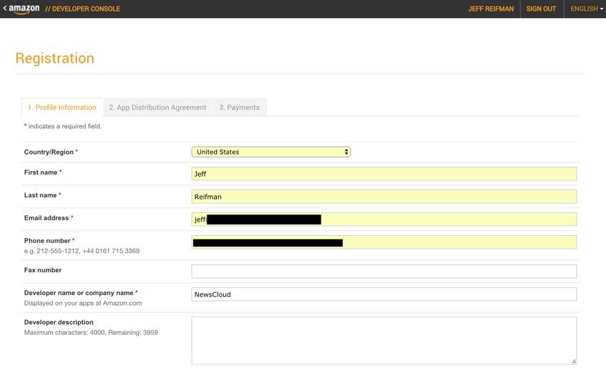Amazon Appstore - Formulaires d'inscription à la console développeur d'Amazon