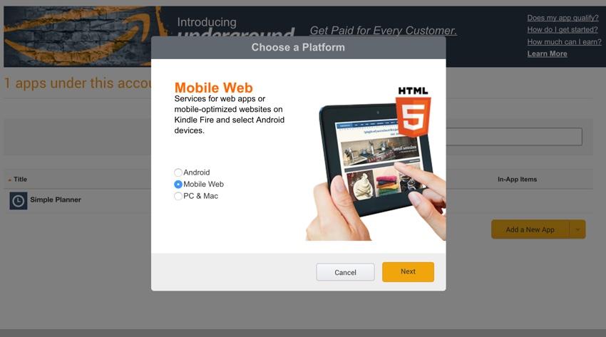 Amazon Appstore - Choisissez une plate-forme Web mobile