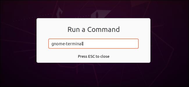 Exécution d'une commande pour ouvrir un terminal dans la boîte de dialogue Exécuter une commande de GNOME.