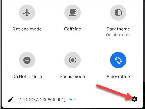 Appuyez sur l'icône d'engrenage pour ouvrir le menu Paramètres.