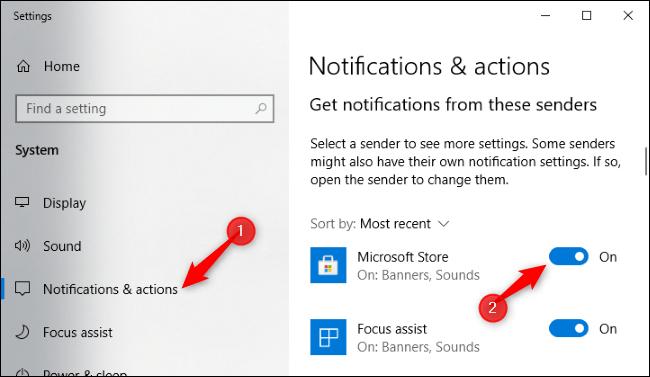 Deaktivieren Sie Microsoft Store-Benachrichtigungen in der Einstellungen-App.