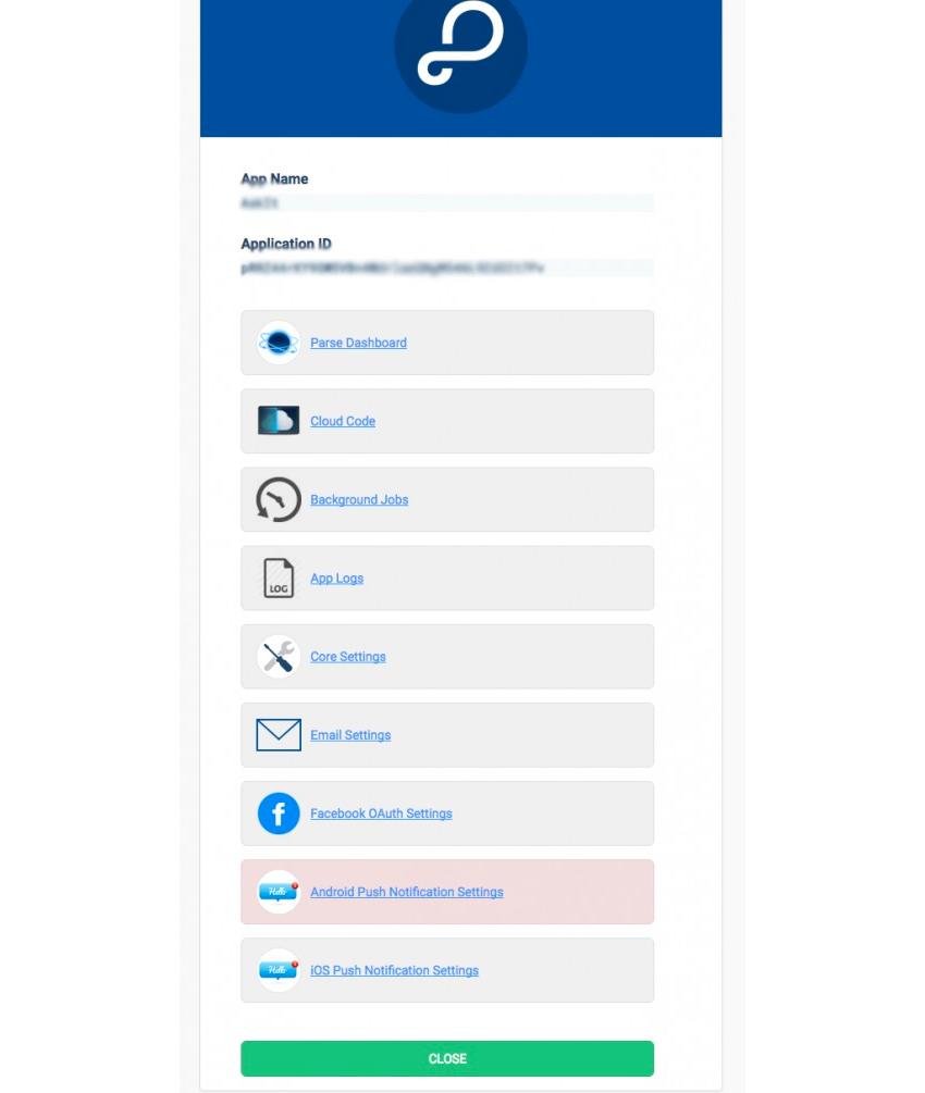 Page principale de Parse App sur back4app
