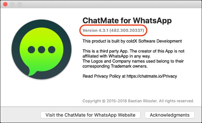 """Une boîte de dialogue """"À propos"""" pour """"WhatsApp"""" avec le numéro de version."""