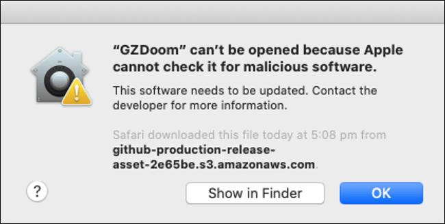 """Une alerte indiquant que Gatekeeper a bloqué """"GZDoom""""."""