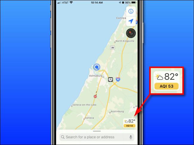 Überprüfen des Luftqualitätsindex (AQI) auf einem iPhone mit Apple Maps.