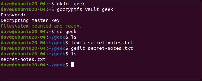 mkdir geek dans une fenêtre de terminal.