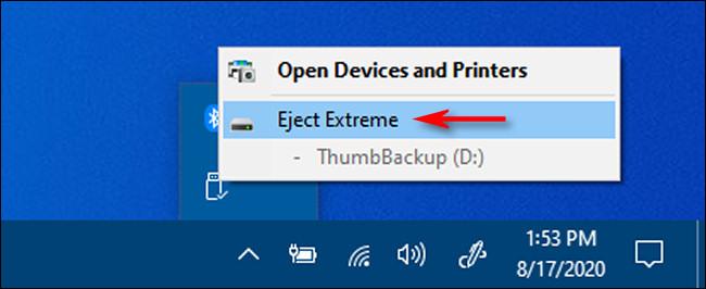 """Cliquez sur """"Éjecter"""" et le nom de la clé USB que vous souhaitez supprimer dans Windows 10."""