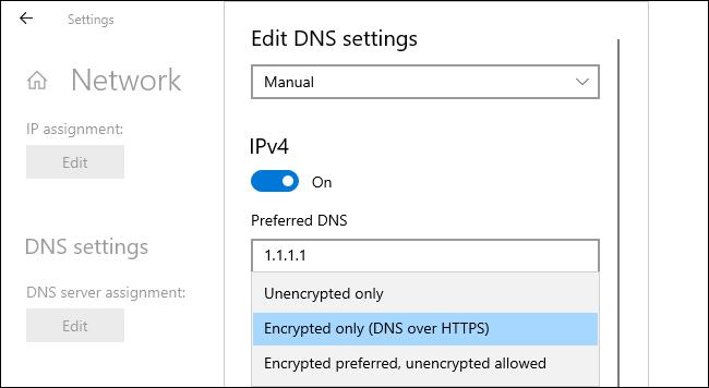 Activation du DNS sur HTTPS sous Windows 10.