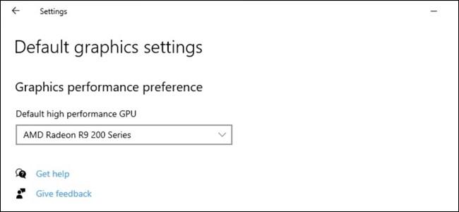 Choisir un GPU hautes performances par défaut sur Windows 10.