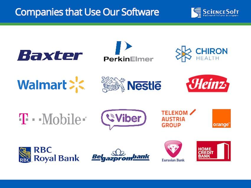 ScienceSoft - Clients qui utilisent nos logiciels