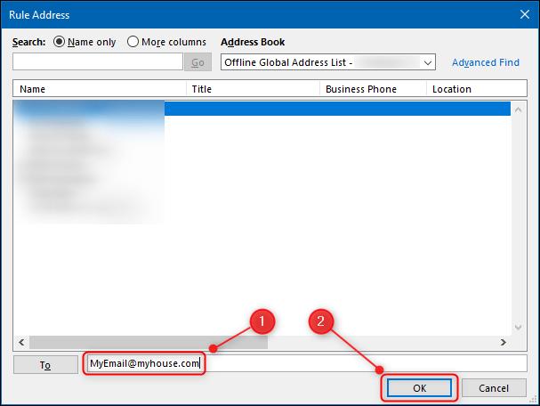 Le champ dans lequel placer l'adresse e-mail à laquelle vous souhaitez transférer les e-mails.