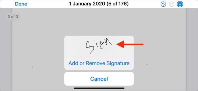 Appuyez pour sélectionner une signature