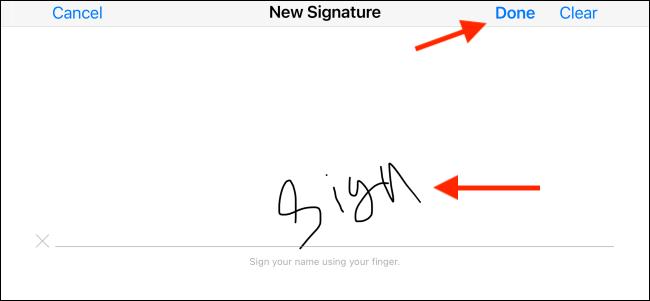 Signez et appuyez sur le bouton Terminé