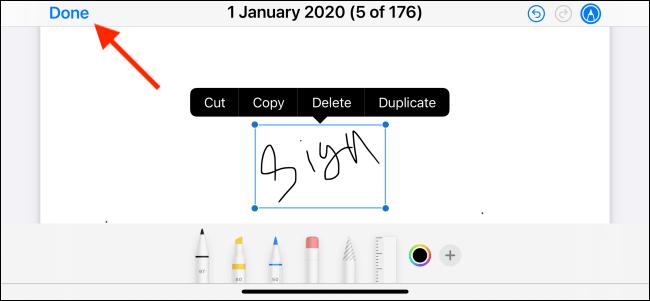 Appuyez sur Terminé pour enregistrer la signature