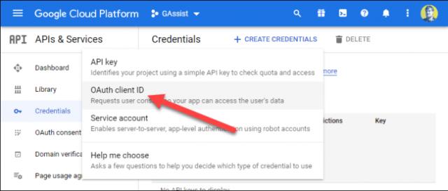 Sélectionnez «OAuth Client ID».