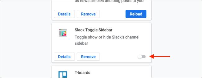Klicken Sie auf Umschalten, um eine Chrome-Erweiterung zu deaktivieren
