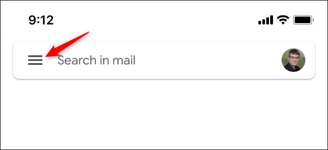 El botón que abre el menú de Gmail en iPhone.