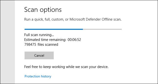 Análisis completo de Microsoft Defender que se ejecuta en Windows 10
