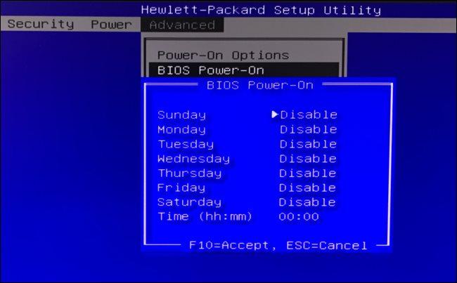 Opciones de encendido del BIOS en una PC HP.