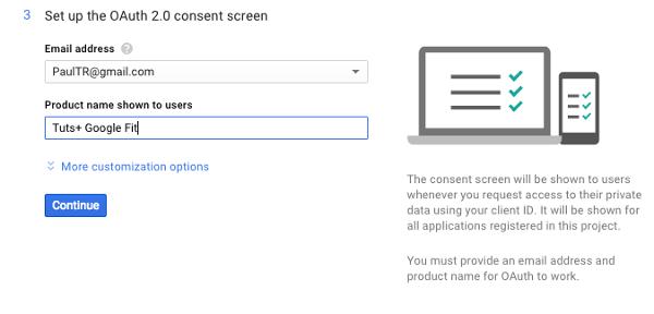 Configuration de l'écran de consentement de l'API Fitness