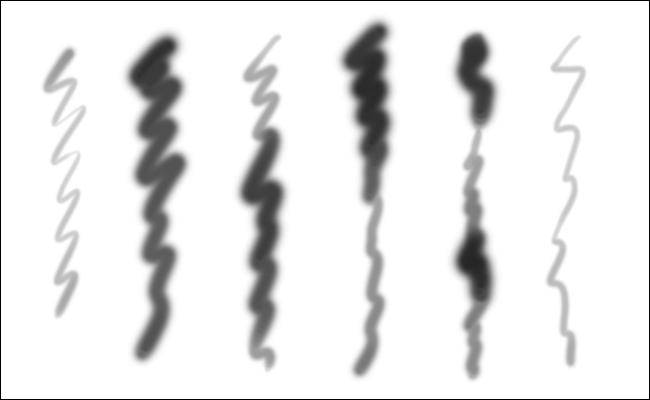 Six lignes ondulées créées avec le même pinceau dans Photoshop en utilisant une pression différente.