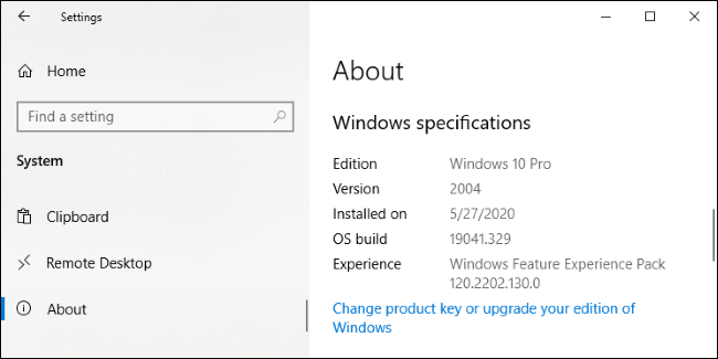 "Écran Paramètres> Système> À propos de Windows 10."" width=""650″ height=""325″ onload=""pagespeed.lazyLoadImages.loadIfVisibleAndMaybeBeacon(this);"" onerror=""this.onerror=null;pagespeed.lazyLoadImages.loadIfVisibleAndMaybeBeacon(this);""></p> <h2 role="