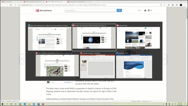 Edge-Browser-Registerkarten werden in der Alt + Tab-Auswahl angezeigt.
