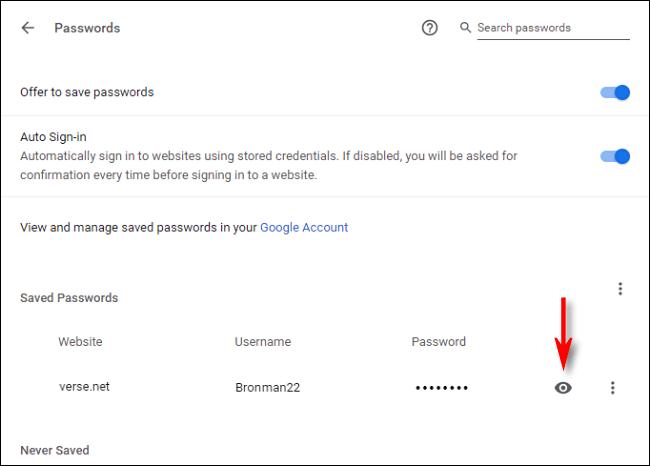 Klicken Sie auf das Augensymbol, um ein gespeichertes Passwort anzuzeigen.