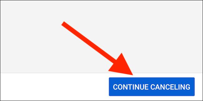 YouTube TV proposera de suspendre votre abonnement.  Sélectionnez le bouton «Continuer l